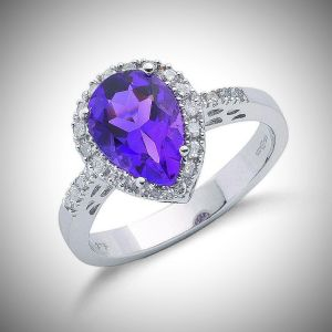 1.60ct Amethyst Ring with 0.18ct Diamonds set in 9ct White Gold